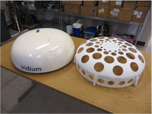 The original dome is shown on the left; on the right is a customized, lightweight piece used in the finished Pilot.